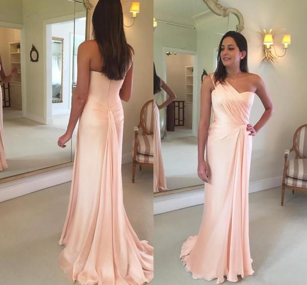2018 New Blush Pink Mermaid árabe madre de la novia viste un hombro plisado gasa Sweep tren personalizado boda invitados vestidos de noche