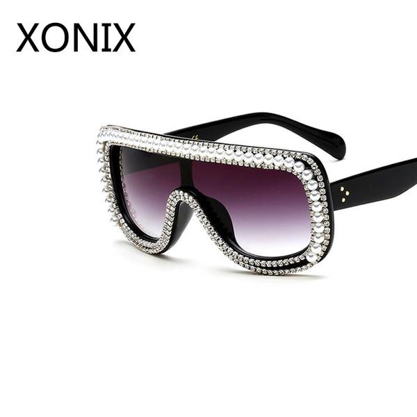 d44aa92dcea3c Xonix mulheres decoração de cristal de grandes dimensões óculos de sol de  luxo da marca óculos