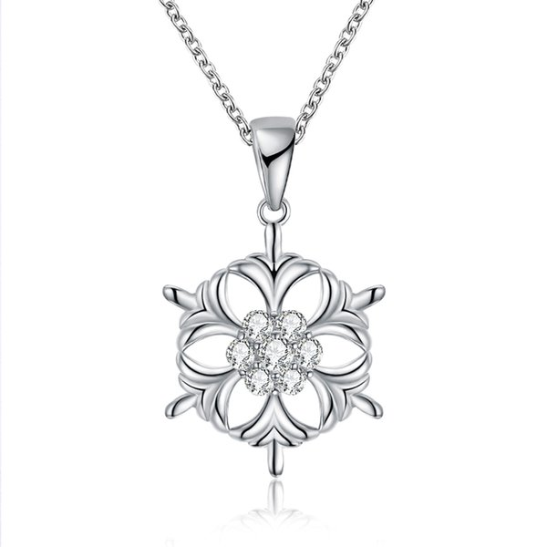 New arrival 925 silver Christmas Snowflake Zircon Pendant Necklace fashion Jewelry making for Christmas gifts free delivery LKN18KRGPN1204