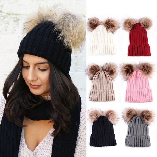 Mom Kid Knit Beanie Cap Hat Ski Double Faux Fur Pom Bobble Ball Knitted Hat Cap Beanie 12pcs CNY760