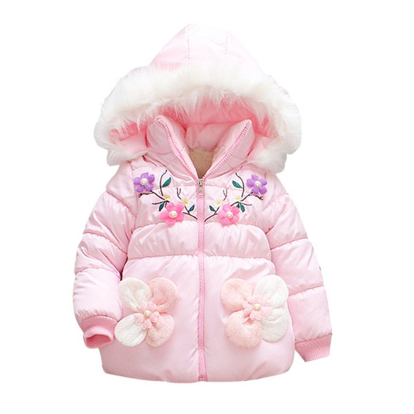 Kids Winter Jackets For Girls New Fashion Pearl Flower Thick Fleece Warm Children Clothes Fur Hooded Outerwear Girls Parkas Coat