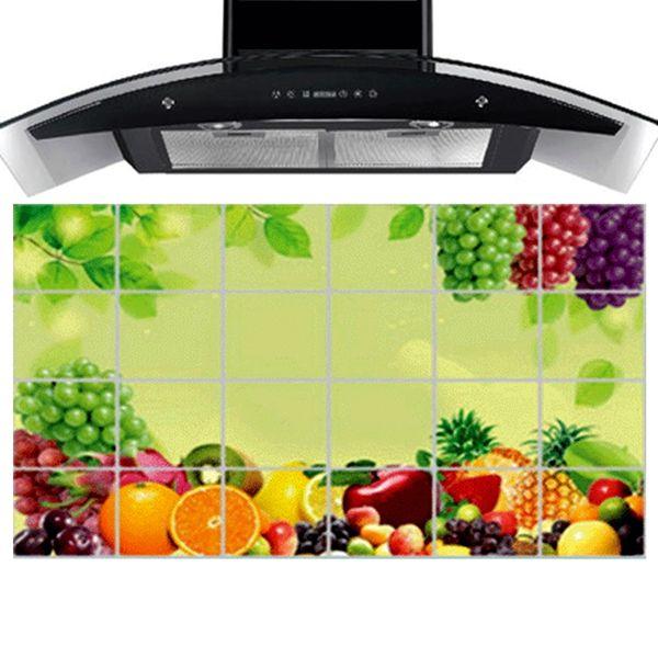 90 cm * 60 cm Fruit World Kitchen Wall Stickers Accessories Chef Kitchen Decor Aluminum Foil Wall Tile Stickers TL953