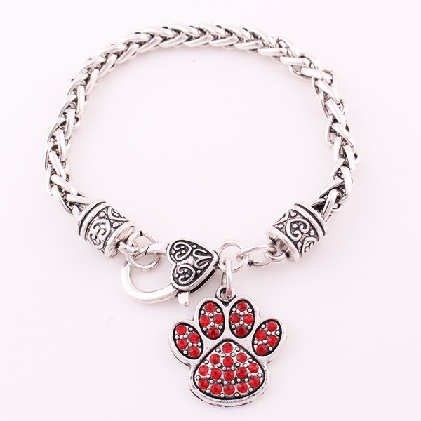 Mix Color Crystal Alloy Paw Claw Footprint Charm Fit For Dog Or Cat Or Bear Pet Jewelry Wheat Bracelet DIY Pendant Jewelry