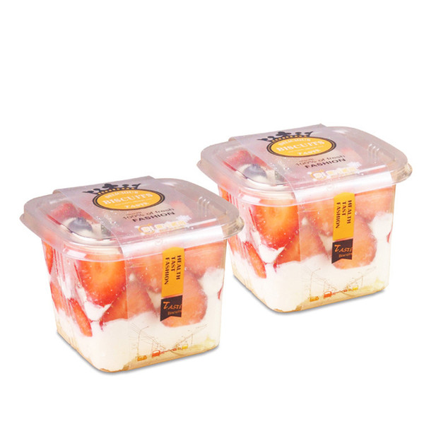 top popular Clear Cake Box Container Transparent Cream Cake Plastic Package Box with Lid Cheese Ice Cream Fruit Mousse Packaging Box 2019