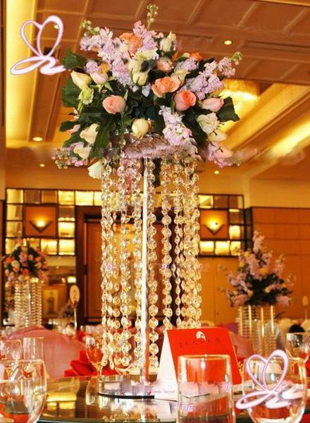 Silber Tischdeko Flower Stand 70cm mit Perlensträhnen Hochzeitsrequisiten