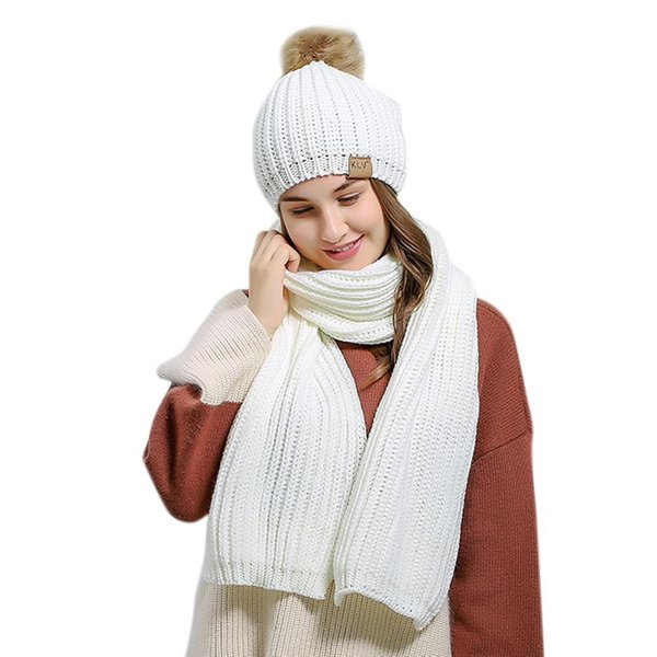 mrwonder 2PCS/Set Winter Women Woolen Knitted Cap and Scarf Suit Solid Color Lady Knitted Hat Muffler Set