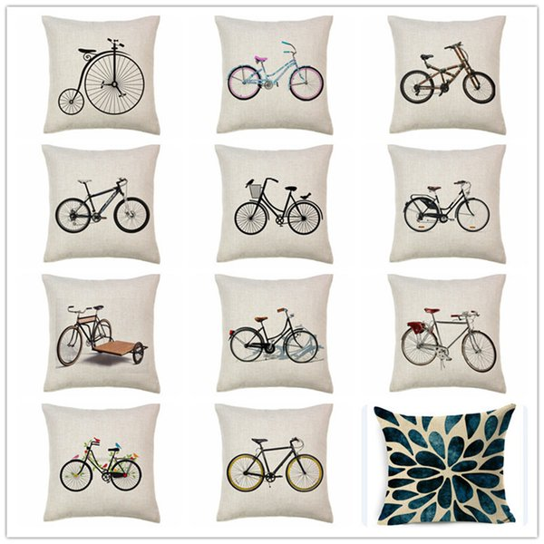 Free shipping novelty gift retro Sketch Vintage bike pattern linen cotton cushion cover home decor throw pillow case