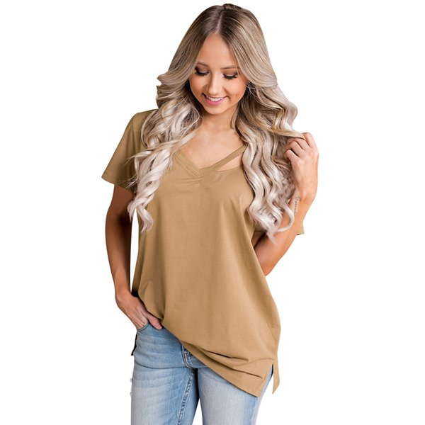 2019 Summer New Fashion Women T-Shirt V Neck Cutout Split Detail Short Sleeve Female T Shirt Solid Loose Basic Top Tee Shirt