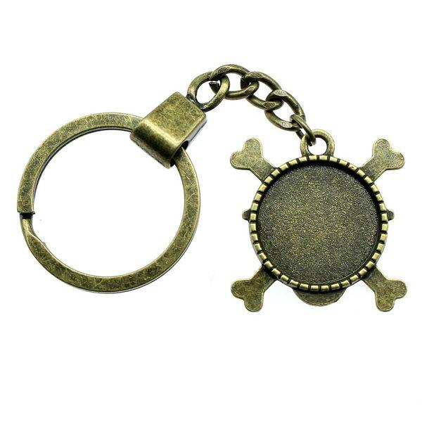 6 Pieces Key Chain Key Rings Fashion Keychains For Men Skull Single Side Inner Size 20mm Round Cabochon Cameo Base Tray Bezel Blank YSK-F113