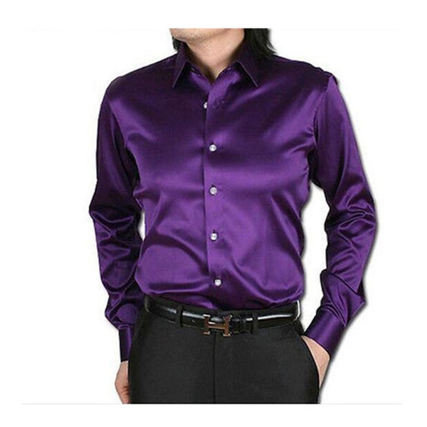 Purple Leisure Clothing Wedding Prom Emulation Silk Long Sleeve Shirts Men's Casual Shirt Shiny Satin Formal Party Shirt
