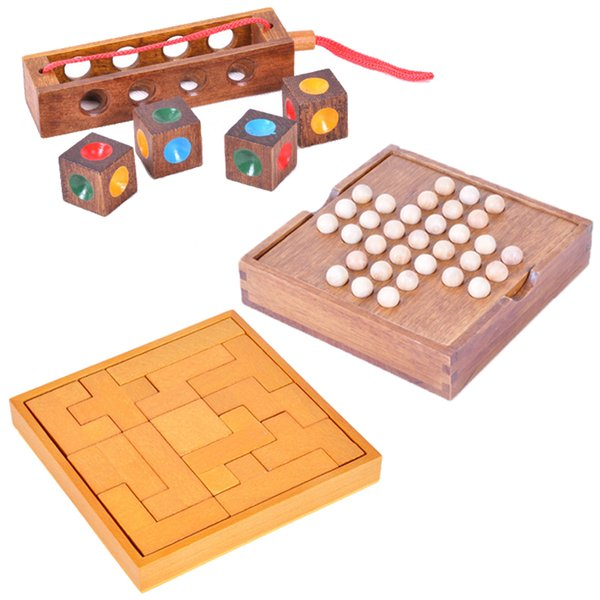 Mysterious Wooden Classic Toys Luban Lock Marble Solitaire Rectangle Blocks 3D Puzzle Brain Teasers Educational for Kids and Adults