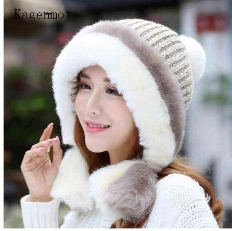 Kagenmo Knit Bomber Hat Ear Protection Women Winter Hat Cold Winter Outdoor Keep Warm Thick Ear Cap Knitting Female Berets