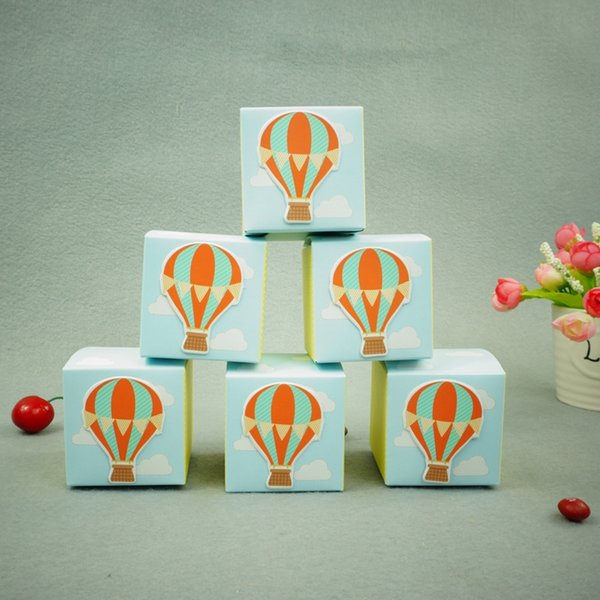 100pcs Hot Air Balloon Birthday Boy Baby Shower Favors boxes baby shower souvenir wedding gifts for guests free shipping
