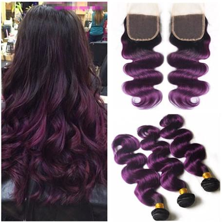 Dark Root Purple Ombre Indian Virgin Human Hair Weave Extensions with Closure Body Wave #1B/Purple Ombre Lace Front Closure 4x4 with Bundles