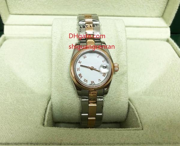 Relojes de señora de lujo con caja original 26 mm 179161 Elegantes mujeres romanas pequeñas esfera blanca de oro rosa de acero inoxidable Relojes automáticos