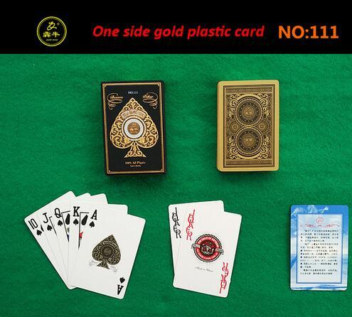1 Set Plastic Playing Cards Poker 54 Cards Retro Gold Adult Waterproof Board Game Family Fun Game Playing Cards