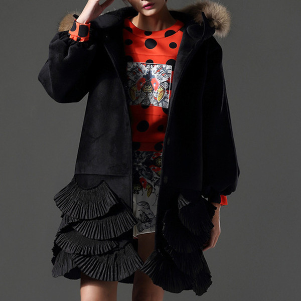 [EWQ] 2018 New Winter Autumn Fashion Loose Hooded Lantern Sleeve Covered Button Ruffles Original Design Coat Woman BL154