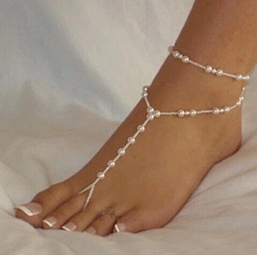 2018 Düğün Ayak Zinciri Takı Halhal Zincirler Kadınlar Plaj İmitasyon İnci Barefoot Sandalet Ayak Takı Kristal Sandalet Halhal Bilezik