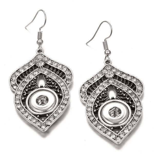 Noosa 12mm Snap Earrings Jewelry retro flower carving rhinestone Snap Button Earrings DIY Noosa Chunk dangle drop Earrings for Women Gift