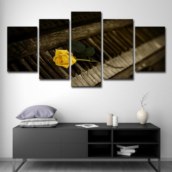 Toile Affiche Affiche Salon Décoration Mur Art Photos 5 Pièces Jaune Fleur Rose Et Peintures Pour Piano