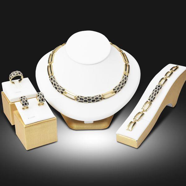 whole sale2016 Dubai Gold Color Jewelry Sets Multicolor Vintage Jewellery Set for Women Wedding Gift Necklace Earrings Ring Bracelet Set