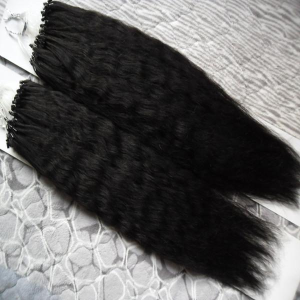 Coarse Yaki Micro Loop Human Hair Extensions 200g kinky straight Apply Natural Hair Micro Link Hair Extensions Human