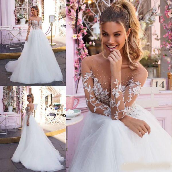 2018 Stunning Spring Milla Nova Wedding Dresses Sheer Long Sleeves Beaded Neck Appliqued Crystal Tulle Floor Length Bridal Gowns