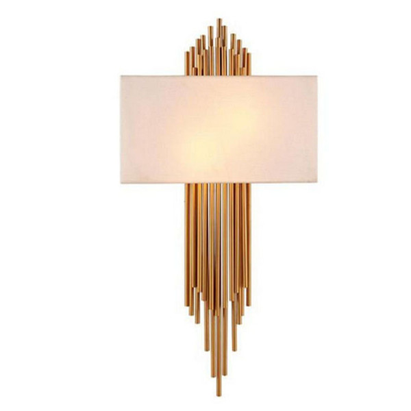 new styles ab2e7 312bd 2019 E14*2 Metal Pipe Copper Wall Lamp Indoor Lighting Bedside Cloth Cover  Wall Lights For Home Decorative Wall Sconce From Ycx52013, $236.19   ...