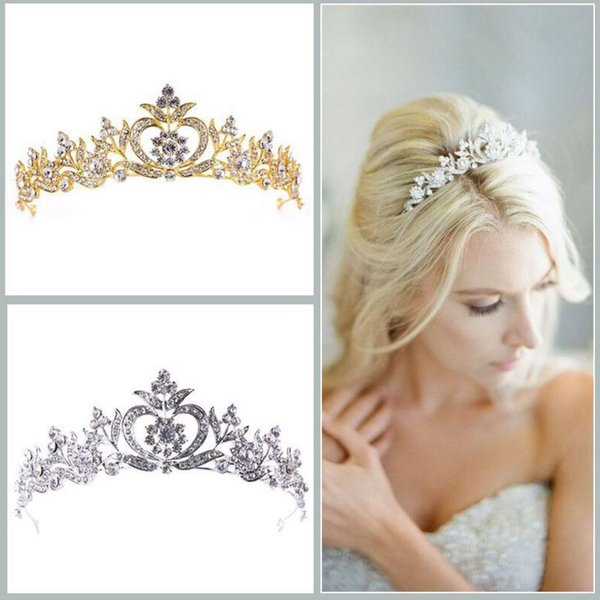 Europe and the United States selling wedding bride crown, crown hoop, simple beautiful, white and gold two colors.