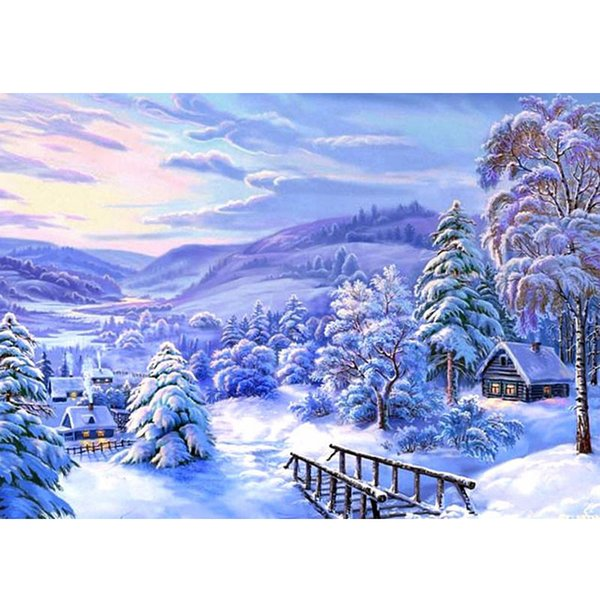 5d diy diamond painting cross stitch Snowy landscape picture 3d diamond mosaic pattern diamond embroidery arts and crafts gift