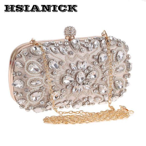 Female Hot Sale Diamonds Women Chain Bag 2017 New Handmade Nail Bead Evening Handbag Dinner Clutch With Diamond Wedding Prom