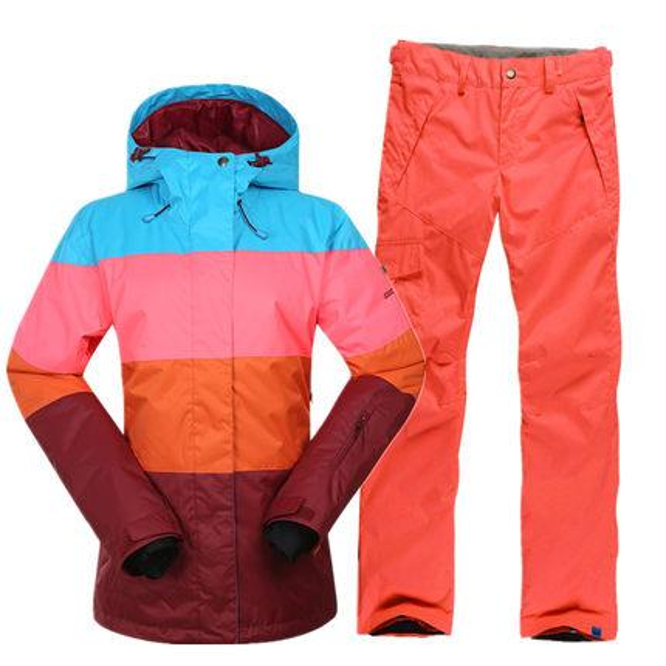 New GSOU SNOW Ski Suit Women's Suit Outdoor Thick Warm Light Waterproof Breathable Wear-resistant Ski Jacket+Ski Pants Size XS-L