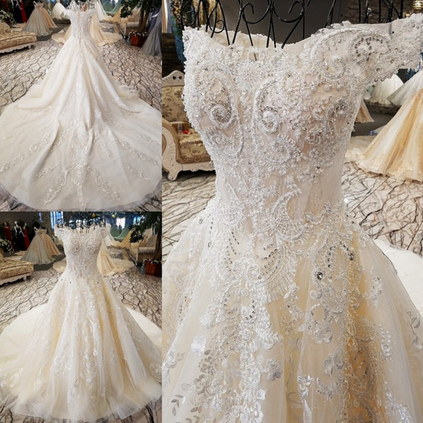 Custom Made A-Line Wedding Dresses Off-Shoulder Beaded Sequins Lace Appliques Lace-up Back Bridal Dresses Luxurious Wedding Gowns