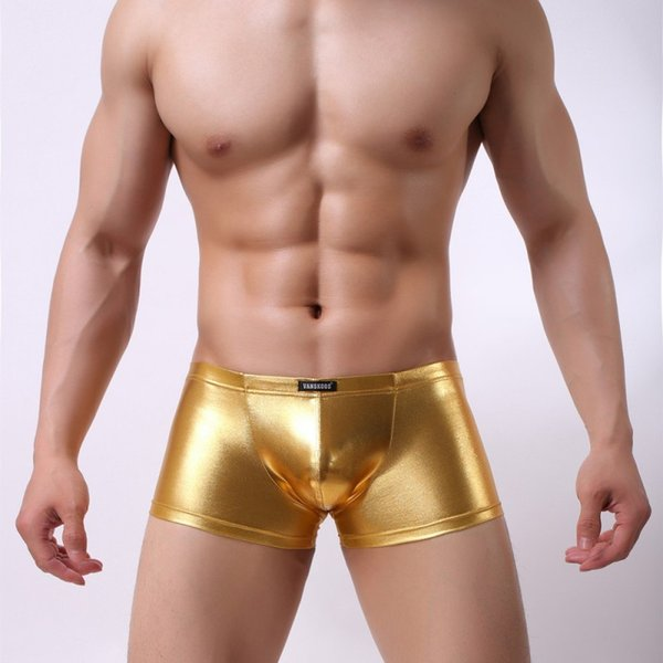 Wholesale Free Shipping men underwear sexy shinny faux pu leather boxer casual trunks gay sleepwear shorts
