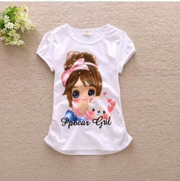 New Summer Children Girls T -Shirts Kids Cotton Short Sleeve Tees Casual Cartoon Tshirts For Girls Students Tops 120 -165