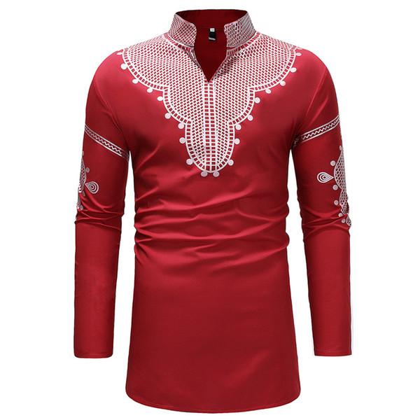 Red African Dashiki Longline Shirt Men 2018 Brand New Stand Collar Long Sleeve Dress Shirt Mens Hip Hop Streetwear Shirts Male
