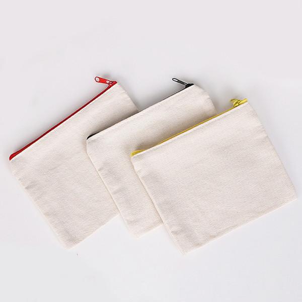 Solid Plain Color Cotton Canvas Clutch Handbag File Pocket Zipper Organizer Storage Makeup Cosmetics Bag Bags Coin Purse Pouch Multi Sizes