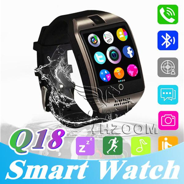 En iyi Q18 smart watch saatler bluetooth smartwatch ile Kol Saati Kamera TF SIM Kart Yuvası Pedometre Anti-kayıp için apple android telefonlar
