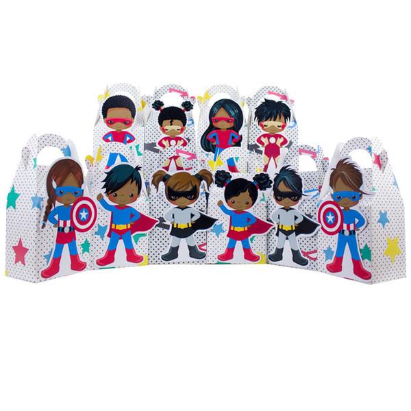 10 STÜCKE Mädchen und Jungen Afroamerikaner Superhero Favor Süßigkeiten Geschenk Box Kuchen Box Boy Kids Birthday Party Supplies Dekoration