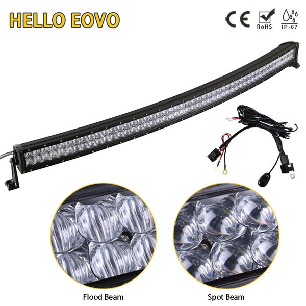 HELLO EOVO 5D 52 inch Curved LED Light Bar for Driving Offroad Car Tractor Truck 4x4 SUV ATV With Switch Wiring Kit