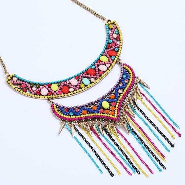 Boho Quaste Halskette für Frauen multicolor böhmischen Maxi Kragen große Aussage Stammes-Süßigkeiten Strand Kette Choker Pullover Kette neu