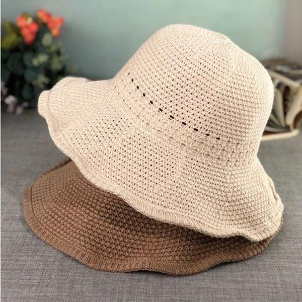 Japanese small fresh woven large-brimmed fisherman hat female Korean street simple versatile artistic sunshade hat