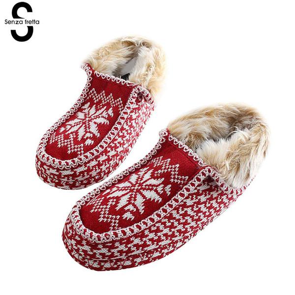 Women Men Warm Non-slip Shoes Christmas Snowflake Print Plush House Slippers