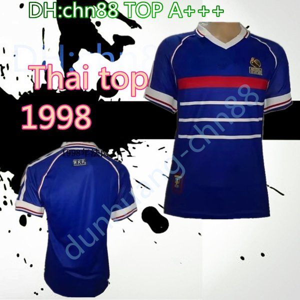 Thai top Wholesale 1998 FRANCE retro soccer jerseys home top thai A+++ customzied name number zidane Henry soccer uniforms football shirts