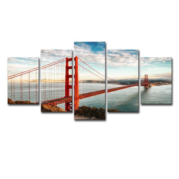 Wall Art Home Decor Quadro Canvas Fotos 5 Peças Golden Gate Bridge Pinturas de Paisagens Para Sala de TV HD Prints Cartazes