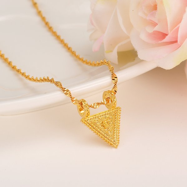collana iniziale africana a forma di triangolo pendente di fascino per collana di dichiarazione gioielli ciondolo di Natale donne ragazze charms fai da te