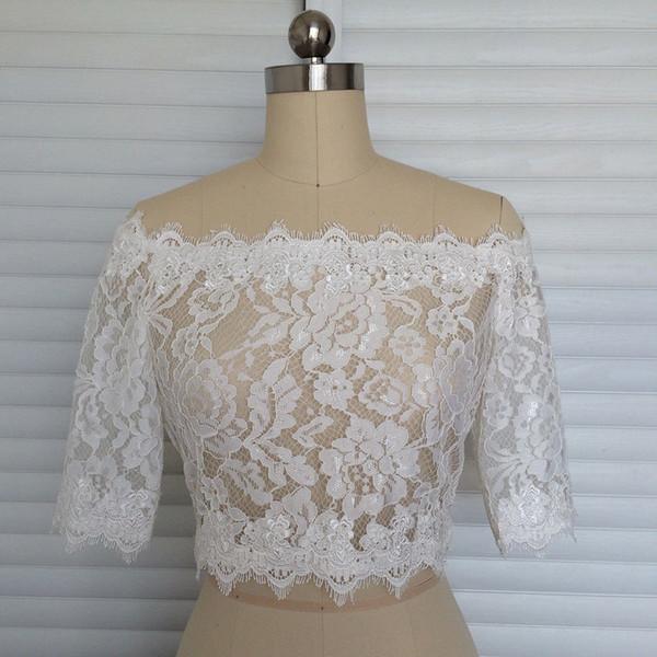 Beautiful Style White Lace Cape 1/2 Sleeve Wedding Jacket With Lace Edge Good Quality Bride Bolero Competitive Price