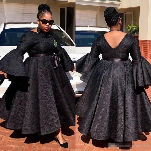 2018 Black African Plus Size Evening Dresses A Line Ankle Length Lace Prom Dress Custom Made Aso Ebi Women Formal Dresses Party Gowns Evening Dress