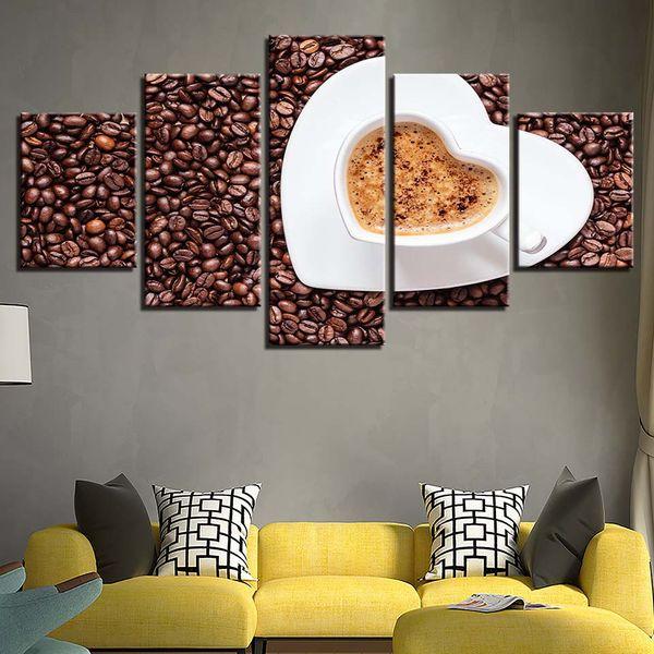 Großhandel Leinwand Malerei Rahmen Wand Kunst Restaurant Home Decor 5  Stücke HD Prints Herzförmige Kaffeetasse Poster Kaffeebohnen Bilder Von ...