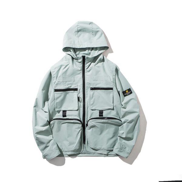 Çok cep moda hip-hop hip-hop hoodie serin erkekler ve kadınlar casual düz renk ceket gençlik ceket erkek giyim